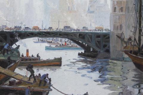 """Puente de Barracas. Óleo sobre tela. Imagen cedida por el Museo de Bellas Artes """"Benito Quinquela Martín"""""""